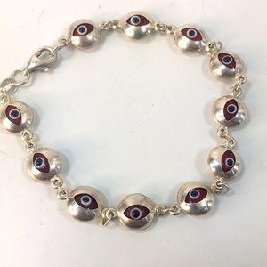 Evil eye bracelet Sterling silver red eyes